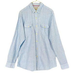 Goodthreads Linen Railroad Stripe Button Up Shirt